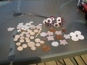 Early on in the Button Bouquet project