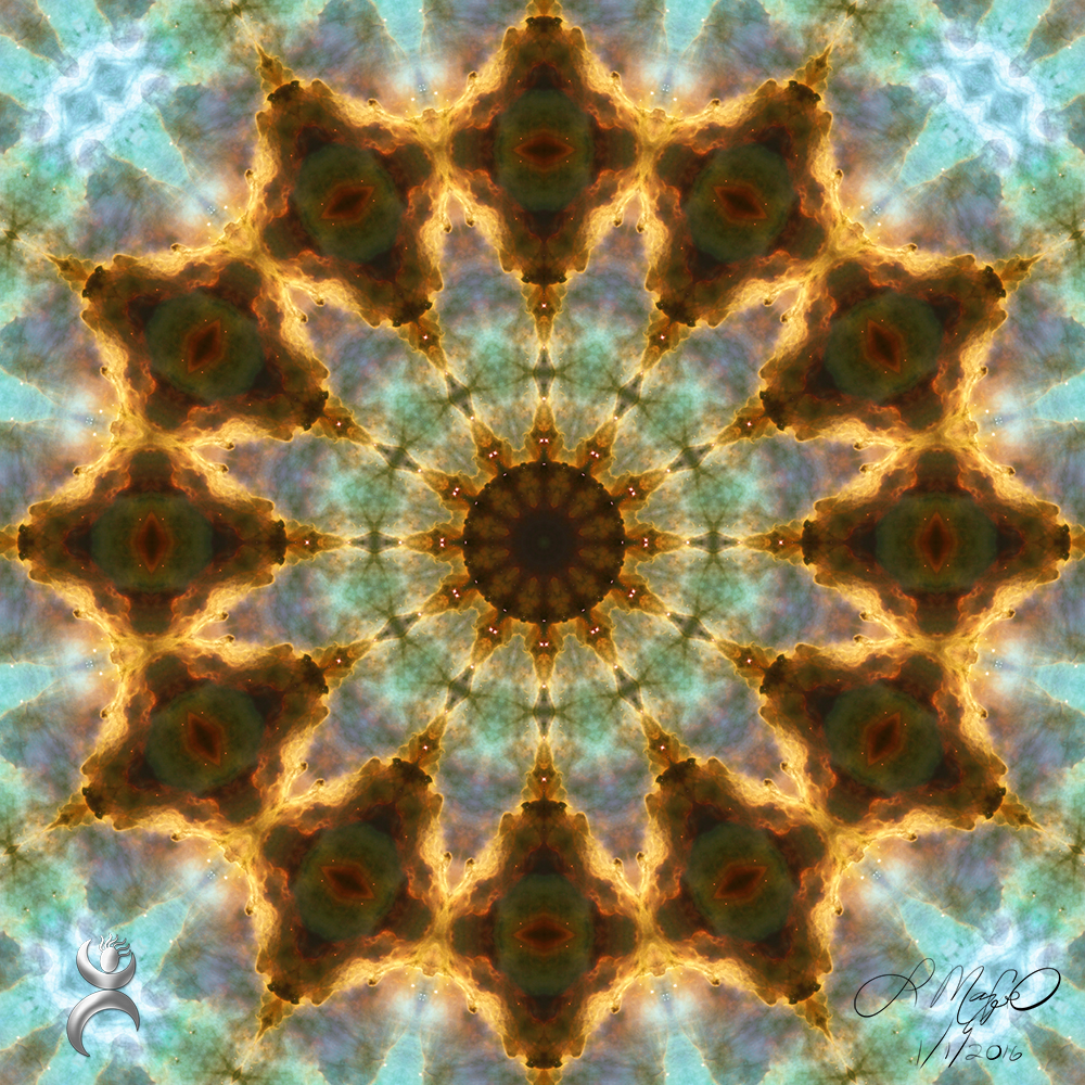 """Kaleidoscoped Omega Nebula"", created in Photoshop with the Mehdi Kaleidoscope plugin"